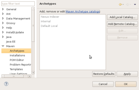 m2eclipse Archetype Prefs